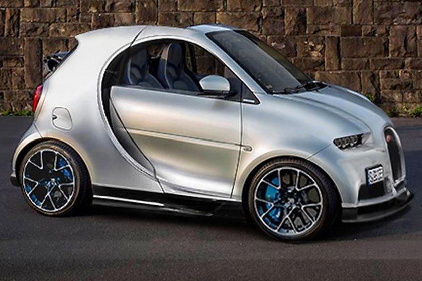 This Bugatti Chiron Smart Car Mash Up Is Beyond Disturbing Carbuzz