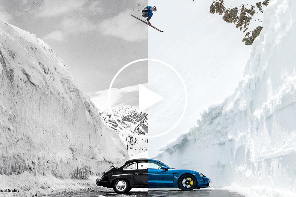 Porsche Recreates Iconic Avalanche Jump Photo With A Modern Twist