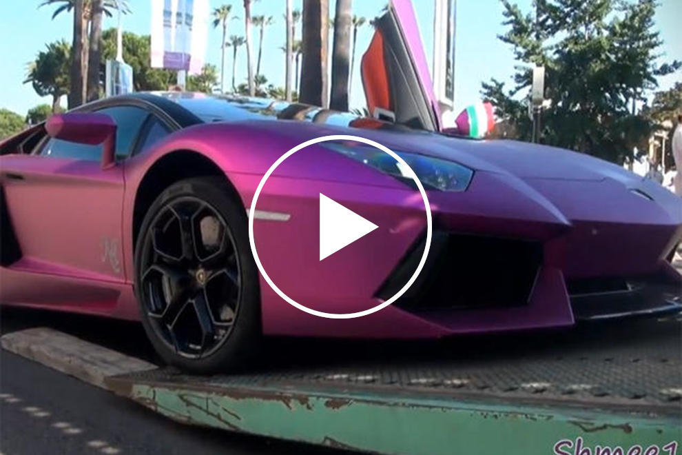 Nasser Al Thani S Pink Chrome And Purple Aventador Appears In Cannes