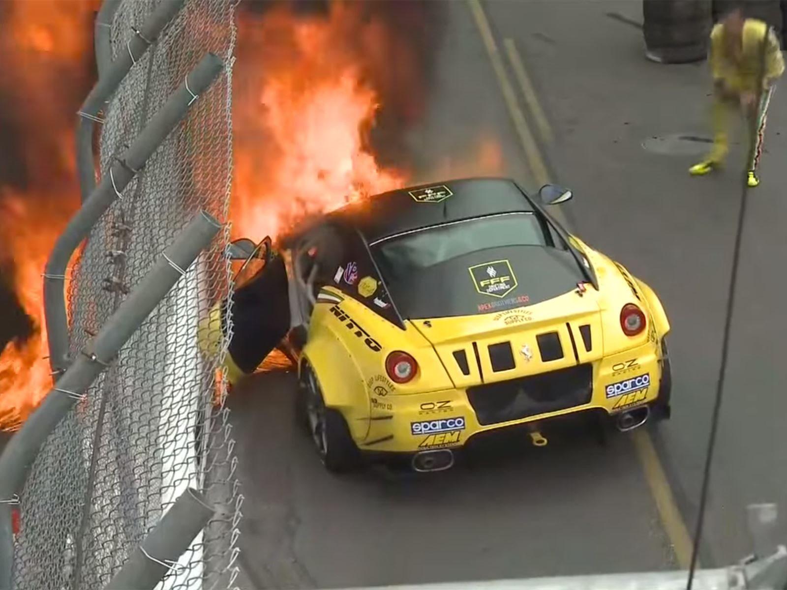900 Hp Ferrari 599 Catches Fire In Formula Drift Debut Carbuzz