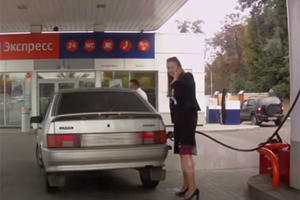 Russian Blonde's Major Gas Station Fail