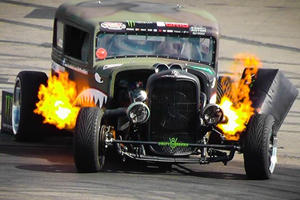 Flame Throwing Rat Rod Drifts From Hell