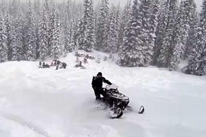 Check Out This POV Video Of A Snowmobile Driving Off A Cliff