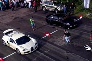 Drag Race Tuesdays: Bugatti Veyron vs. Porsche 911 Switzer