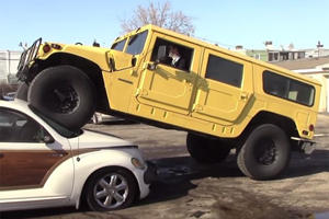 Watch A Chrysler PT Cruiser Get Crushed By A Hummer Just Because