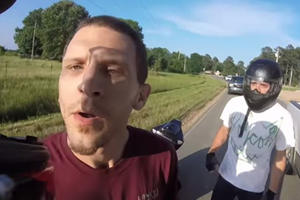 Redneck F-150 Driver Tries To Kill Bikers And Gets Vicious Headbutt