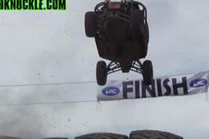 Watch This Race Buggy Flip Through The Air And Destroy The Finish Line
