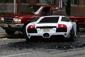 Fake Lamborghini Causes Massive 5 Car Crash And Catches Fire