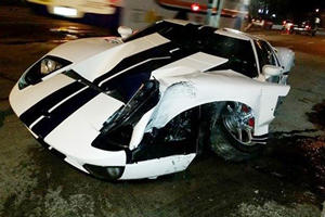 Can You Guess What The Driver Did After Crashing His Ford GT?