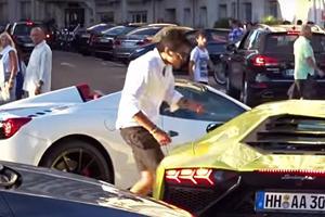 Angry Ferrari Driver Blocks Road To Argue With Lamborghini
