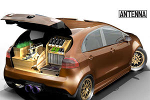 SEMA 2011: Kia Rio Antenna Concept Holds Shoes and Spins Records