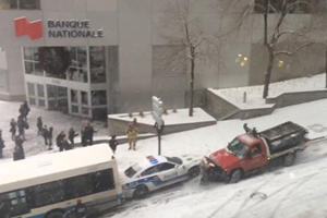 Watch A Snowy Street Cause A Massive Pileup In Montreal