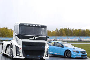 2,400-HP Semi Races Volvo Race Car On The Track