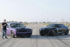 Camaro ZL1 Challenges Hellcat Challenger To A Drag Race
