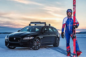 Watch The Jaguar XF Sportbrake Pull An Olympic Skier Over 100 MPH