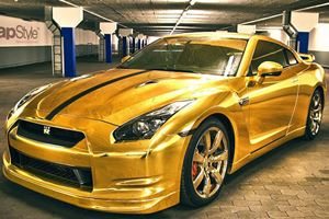 Gold-Wrapped GT-R by WrapStyle