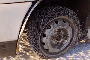 Crazy Russian Drives On Tires Made Of 3,000 Nails