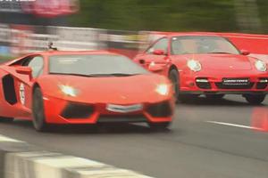 DRT: Lamborghini Aventador Battles Switzer Porsche 911 Turbo in the Wet