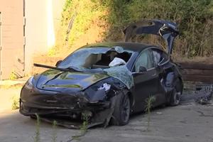 Tesla Model 3 Gets Totaled After Falling 40 Feet