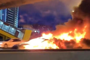 Watch A Tesla Model 3 Explode On A Russian Highway