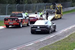 Porsche Taycan Laps Broken Down Tesla Model S