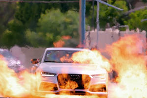 Jay Leno Drives Through Fire In An Audi RS7