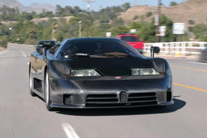 Jay Leno Drives World's Only Bare Carbon Bugatti EB110