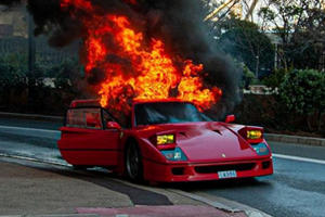 Watch Super Rare Ferrari F40 Go Up In Flames