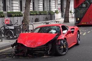 Mangled Ferrari 488 GTB Destroyed After Crashing Into London Bus