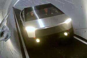 Watch Jay Leno Drive Tesla Cybertruck Through Boring Company Tunnel