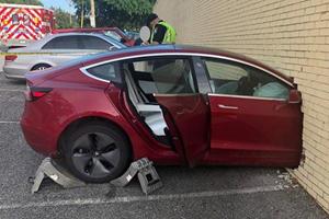 Tesla Model 3 Driver Slams Into A Brick Wall