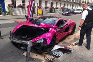 Pink McLaren 570S Crashes In 20-MPH Speed Zone