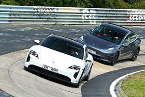 Watch A Tesla Model 3 Hunt A Porsche Taycan On The Nurburgring