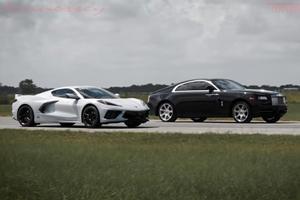 Drag Race: C8 Corvette Stingray Vs. Rolls-Royce Wraith