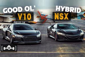 Supercar Drag Race: Acura NSX Vs. Audi R8 V10 Plus