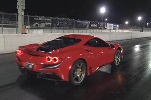 Watch A Ferrari F8 Pop A Wheelie At The Drag Strip