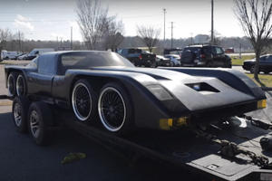 This Insane Car Has Eight Wheels, Gullwing Doors And A Four-Rotor Engine