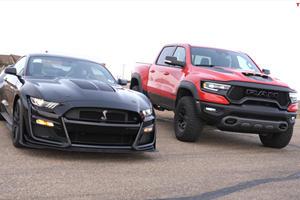 Drag Race: Ram 1500 TRX Vs. Shelby Mustang GT500