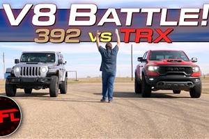 V8 Drag Battle: Jeep Wrangler 392 Vs. Ram 1500 TRX