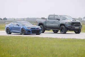 Drag Race: 900-HP Ram 1500 TRX Vs. Chevy Camaro ZL1 1LE