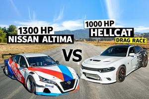 2,300-HP Drag Race: Nissan Altima Vs. Dodge Charger Hellcat