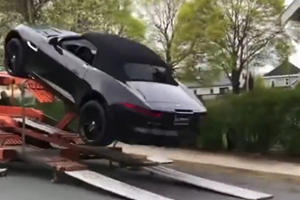 Jaguar F-Type Crashes Into Chevy Silverado And Nissan GT-R In Hilarious Delivery Fail