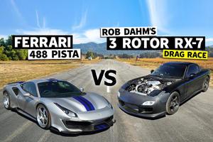 Drag Race: Terrifying Mazda RX-7 Vs. Ferrari 488 Pista