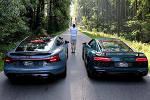 Audi R8 Vs. RS e-tron GT Is The Ultimate Past Vs. Future Drag Race