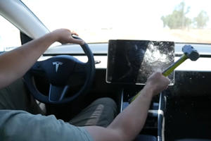 This YouTuber Smashed His Tesla Model 3's Touchscreen For Science