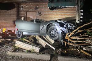 Money Laundering Corvette Driver Crashes Into Abandoned Building