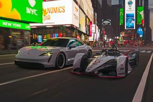 Porsche Taycan And Formula E Racer Hit New York Streets