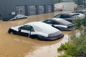 Devastating Flooding Strikes German Porsche Dealership