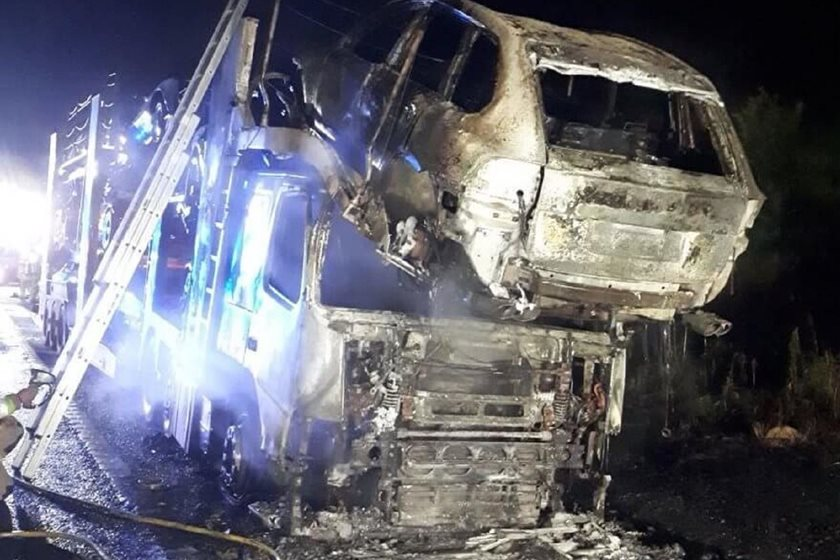 Transformers Movie Cars Set Ablaze In Transporter Fire | CarBuzz