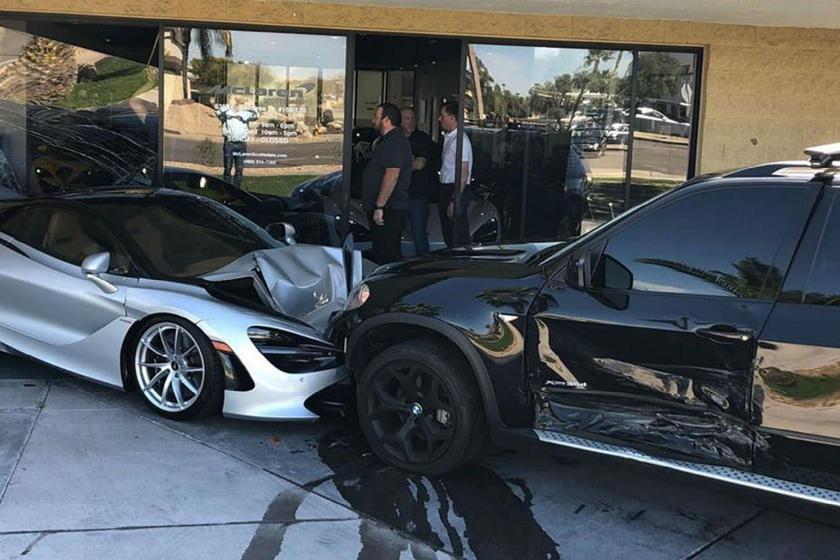 Bmw X5 Crashes Into An Entire Mclaren Dealership Carbuzz